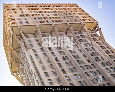 MILAN, ITALY-FEBRUARY 15, 2019: Torre Velasca (Velasca Tower) close up, diagonal composition - Stock Photo