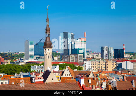 Cityscape of old Tallinn, old and modern buildings at summer day. - Stock Photo