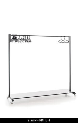 hatstand with hangers on white background with copy space - Stock Photo