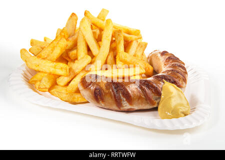 Sausage with Mustard and French Fries on a Plate - Stock Photo