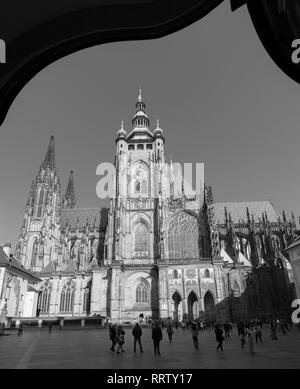 PRAGUE, CZECH REPUBLIC - OCTOBER 14, 2018: The St. Vitus cathedral from south. - Stock Photo
