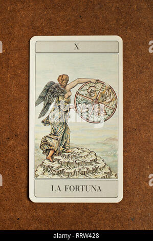 The Wheel of Fortune tarot major arcana - Stock Photo