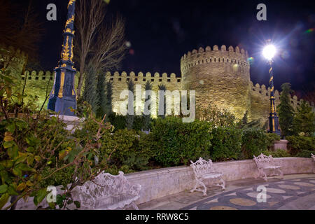 Icheri Sheher in Baku. Azerbaijan . Gate of the old fortress, entrance to night Baku old town. Baku, Azerbaijan. Walls of the Old City in Baku . Icher - Stock Photo