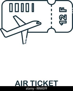 Airplane Ticket icon. Outline thin line style from airport icons collection. Pixel perfect Airplane Ticket icon for web design, apps, software, print - Stock Photo