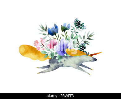 Beautiful watercolor bouquet with unicorn isolated on white background. Floral watercolor bouquet for design, postcards, banners, emblems, logo. - Stock Photo