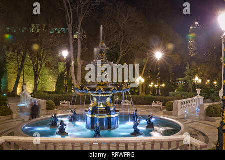 Fountain in the philarmony park in Baku city, Azerbaijan. Philharmonic Fountain Park. Azerbaijan State Philharmonic Hall is the main concert hall in A - Stock Photo