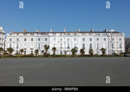 Plymouth, Devon, UK. 26th February, 2019. Victorian architecture along Plymouth Hoe.  The Hoe is one of the most popular tourist attractions in Plymou - Stock Photo