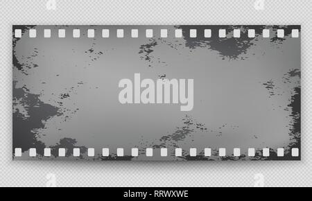 Grunge stained, dirty film strip with shadow is on squared background. Vector illustration - Stock Photo