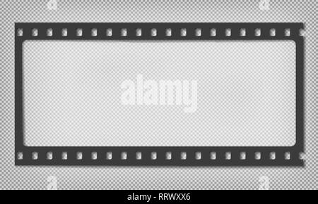 Black grunge horizontal film strip with shadow is on squared grey background. Vector illustration - Stock Photo