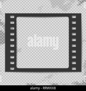 Black grunge film strip with shadow is on squared stained background. Vector illustration - Stock Photo