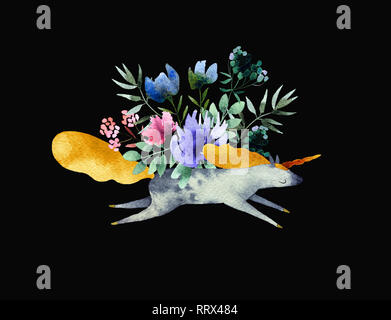 Beautiful watercolor bouquet with unicorn isolated on black background. Floral watercolor bouquet for design, postcards, banners. Ready to print - Stock Photo