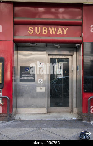 Philadelphia, Pennsylvania - February 5, 2019: Entrance to the handicapped elevator for the SEPTA subway station as seen on this date. There is am una - Stock Photo