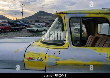North America, America, American, Great Basin, USA, Nevada, Tonopah, Car Junkyard - Stock Photo
