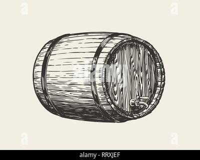 Wooden oak barrel. Wine, whisky, pub sketch. Hand drawn vintage vector illustration - Stock Photo