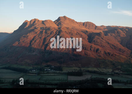 First light over the Langdale Pikes from Side Pike, Great Langdale, Lake District, UK