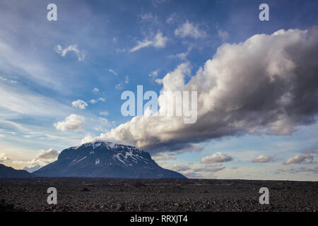 Cloud over the Herdubreid tuya (flat-topped steep-sided volcano) mountain in Ódáðahraun lava field, Highlands of Iceland Northeast Iceland, Scandinavi - Stock Photo