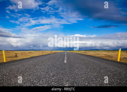 Route 1 or Ring Road (Hringvegur) national road that runs around the island and connecs some of the most popular tourist attractions in Iceland, Scand - Stock Photo
