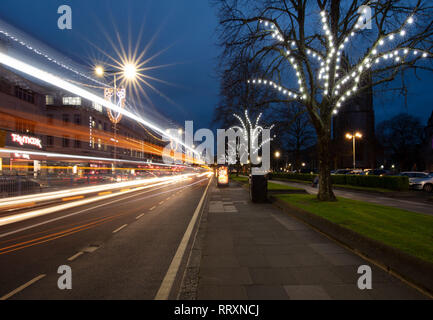 A late night image of Royal Parade during the run up to Christmas. The decorated trees certainly help you get in the christmas spirit. - Stock Photo
