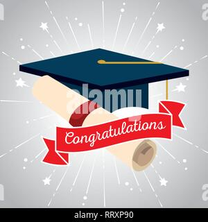 graduation cap with diploma certificate and ribbon - Stock Photo