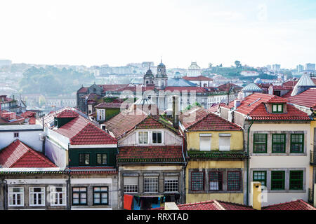 Porto, Portugal - December 2018: View from Miradouro da Rua das Aldas to downtown Porto, with Palacio da Bolsa far away. - Stock Photo