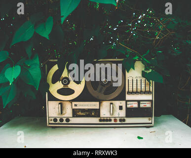 Beautiful shot of a vintage tape recorder on a green leafy background - Stock Photo