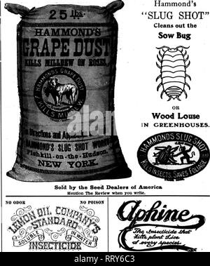 """. Florists' review [microform]. Floriculture. Hammond's """"SLUG SHOT"""" Cleans out the Sow Bug. 1 I i Guaranteed under Insecticide Act, 1910. Serial No. 321. If 7oa want an Insecticide to destroy insects on plants. Mealy Bag, Brown and White Scale. Tlirlps, Red Spider. Black and Green Fly. Mltea, Anta, etc.. ive have it. Oar Insecticide destroys these pests, at the same time leaves no dtsagreeable odor. PolBonlesB—is harmless to user and plant. Recommend! d and used by leading seedsmen and florists throuKhout the country, A favorite in chicken houses, and for ktllinK in- sects in homes.  - Stock Photo"""