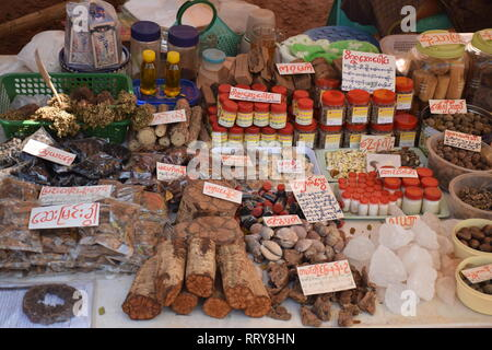 Local food and spices sold in a shop nearby Kyauk Ka Lat pagoda in Hpa An, Myanmar - Stock Photo