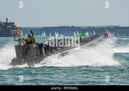 Royal Marines in a offshore raiding craft (ORC) provide maritime security for the America's Cup World Series at Portsmouth, UK on the 25th July 2015. - Stock Photo