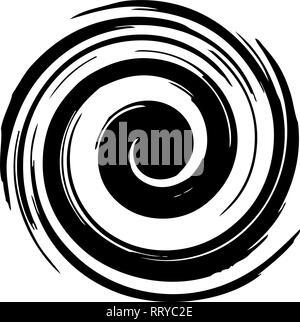 vector radial spiral burst. black star spiral explosion isolated on white background. graphic design of radial motion burst - Stock Photo