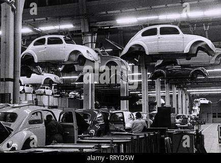 VW Beetle - VW Werke - VW Käfer - Montage-Fließband - Stock Photo