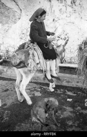 Griechenland, Greece - Eine Frau auf ihrem Esel auf Rhodos, Griechenland, 1950er Jahre. A woman on the back of her donkey on Rhodos, Greece, 1950s. - Stock Photo
