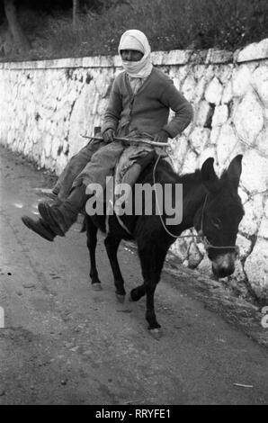 Griechenland, Greece - Eine Frau auf ihrem Esel, Rhodos, Griechenland, 1950er Jahre. A woman on her donkey on Rhodos, Greece, 1950s. - Stock Photo