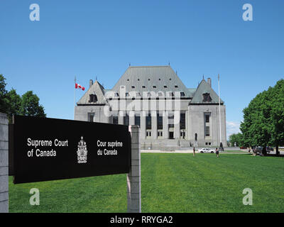 OTTAWA - JUNE 2017:  The Supreme Court of Canada is the highest court in Canada, and its building in Ottawa is just up the street from Parliament, beh - Stock Photo