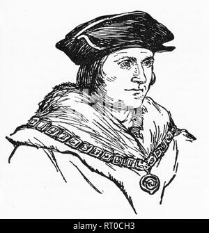 Engraving of Sir Thomas More, famous for his stand against the adulterous marriage of Henry VIII to Anne Boleyn. From Chatterbox magazine, 1925 - Stock Photo