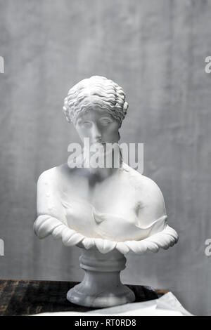 Replica Roman Bust of Antonia, noble young woman, daughter of Mark Antony. The original work is in the holdings of the British Museum in London. - Stock Photo