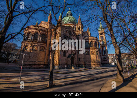 Vienna, Austria - December 25, 2017. St. Anthony of Padua Church built in Byzantine or Romanesque Revival architecture style. Facade of brick catholic - Stock Photo