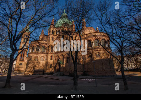 Vienna, Austria - December 25, 2017. St. Anthony of Padua Church built in Byzantine or Romanesque Revival architecture style. Catholic church with bri - Stock Photo