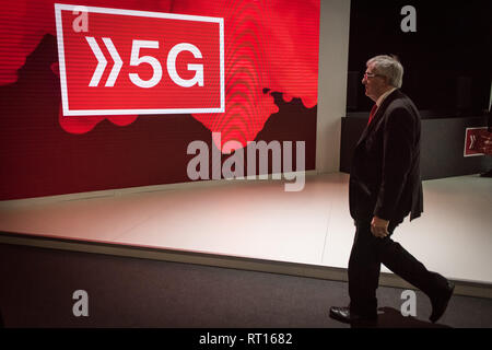 Barcelona, Spain. 26th Feb 2019. February 26, 2019 - Barcelona, Catalonia, Spain -  5G sign during the  GSMA Mobile World Congress 2019 in Barcelona, the world's most important event on mobile devices communications bringing together the leading companies and the latest developments in the sector. Credit:  Jordi Boixareu/Alamy Live News - Stock Photo