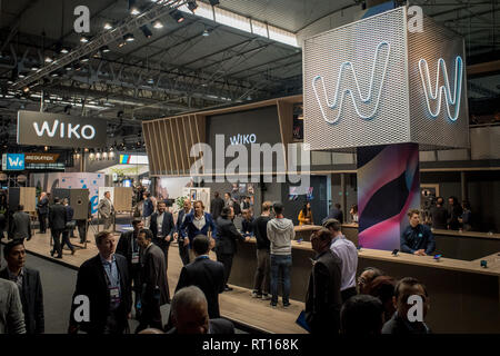 Barcelona, Spain. 26th Feb 2019. February 26, 2019 - Barcelona, Catalonia, Spain -  WIKO  pavilion during the  GSMA Mobile World Congress 2019 in Barcelona, the world's most important event on mobile devices communications bringing together the leading companies and the latest developments in the sector. Credit:  Jordi Boixareu/Alamy Live News - Stock Photo