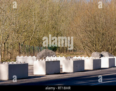 Wirksworth, Derbyshire Dales, UK. 27th Feb 2019. Concrete blocks placed on the carpark to protect Wirksworth beauty spot owned by Wirksworth Town Council (Labour) after Derbyshire Dales District Council (Conservative) voted on relocating a GRT Travellers camp on disputed land adjacent to Stoney Wood, Wirksworth, Derbyshire Dales. Wirksworth Town Council are seeking legal advise to try & protect the trees, rare wild orchids & other wildlife in and around this Sight of Special scientific Interest. Credit: Doug Blane/Alamy Live News - Stock Photo