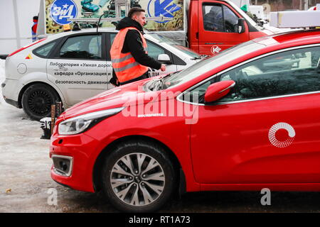 Russia. 27th Feb, 2019. MOSCOW REGION, RUSSIA - FEBRUARY 27, 2019: A self-driving car of the Laboratory of Driverless Transport being tested in extreme climate conditions as part of the Winter City Up Great International Technology Contest at a facility of the Central Scientific Research Automobile and Automotive Engines Institute (NAMI) in the village of Avtopoligon. Sergei Fadeichev/TASS Credit: ITAR-TASS News Agency/Alamy Live News