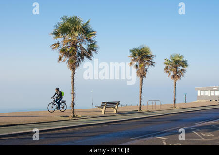 Southend-on-Sea, Essex, UK. 27th February, 2019. UK Weather: The unseasonably sunny weather continues in Southend - a view of a man cycling along the sea front   Credit: Ben Rector/Alamy Live News - Stock Photo