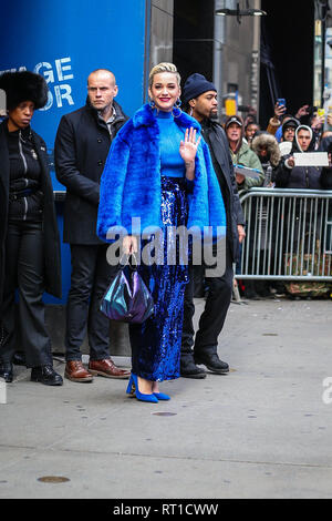 New York, USA. 27th Feb, 2019. Singer Kate Parry is seen in the Times Square area of New York in a television studio this Wednesday, May 27. (Photo: Vanessa Carvalho / Brazil Photo Press) Credit: Brazil Photo Press/Alamy Live News - Stock Photo