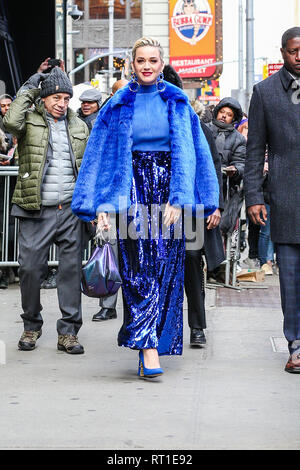 New York, USA. 27th Feb, 2019. Singer Katy Parry is seen in the Times Square area of New York in a television studio this Wednesday, May 27. (Photo: Vanessa Carvalho/Brazil Photo Press) Credit: Brazil Photo Press/Alamy Live News - Stock Photo