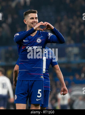London, UK. 27th Feb, 2019. Chelsea's Jorginho celebrates after the Premier League match between Chelsea and Tottenham Hotspur at Stamford Bridge Stadium in London, Britain on Feb. 27, 2019. Chelsea won 2-0.  Editorial use only, license required for commercial use. No use in betting, games or a single club/league/player publications.'  Credit: Han Yan/Xinhua/Alamy Live News - Stock Photo