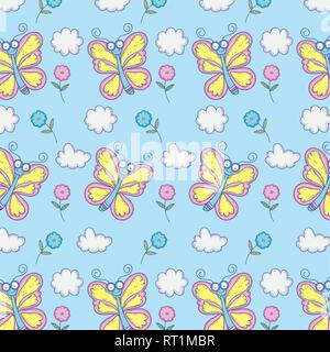 beauty butterflies insects with flowers and clouds background - Stock Photo