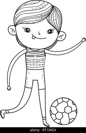 cute little boy playing soccer - Stock Photo