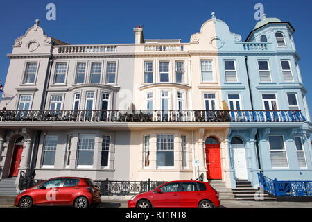 Plymouth, Devon, UK. 26th February, 2019. Victorian architecture along Grand Parade near the Hoe in Plymouth.  The Hoe is one of the most popular tour - Stock Photo