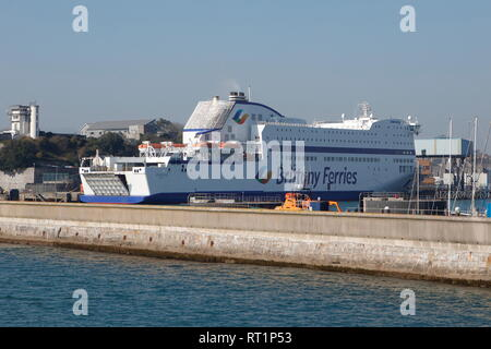 Plymouth, Devon, UK. 26th February, 2019. A Brittany Ferry 'Amorique' berthed at Millbay in Plymouth - Stock Photo