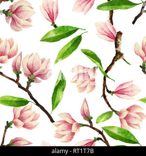 Hand painted watercolor seamless pattern with magnolia flowers and leaves. Beautiful and gentle botanical seamless pattern isolated on white - Stock Photo